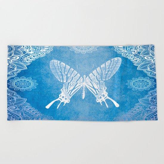 Bohemian Ornamental Butterfly Deep Blue Ombre Beach Towel