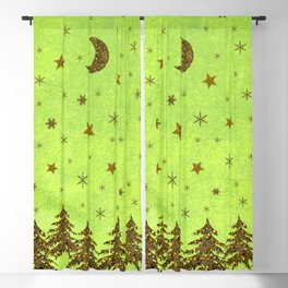 Sparkly Christmas tree, stars, moon on abstract green paper Blackout Curtain
