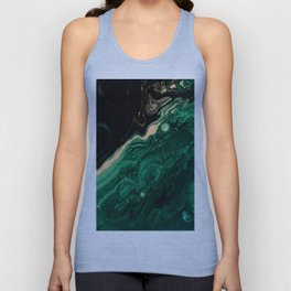 Abstract Pour Painting Liquid Marble Abstract Dark Green Painting Gold Accent Agate Stone Layers Unisex Tank Top