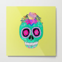 The skull with a flower crown Metal Print