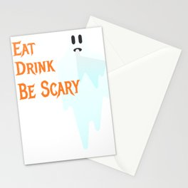 Spooky Halloween Ghost Eat Drink Be Scary Stationery Cards