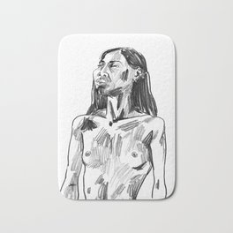 Pencil Portrait of a Bangkokian Woman Bath Mat
