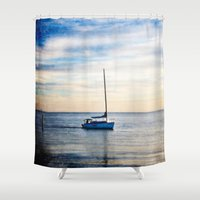 sailboat Shower Curtains featuring Lone Sailboat by JMcCool