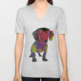 hipster dachshund Unisex V-Neck