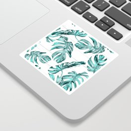Turquoise Palm Leaves on White Wood Sticker