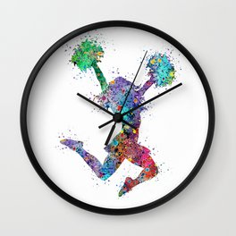 Cheerleader Art Girl Poms Dance Cheerleader Gifts Watercolor Print Sports Poster Dancing Gift Wall Clock