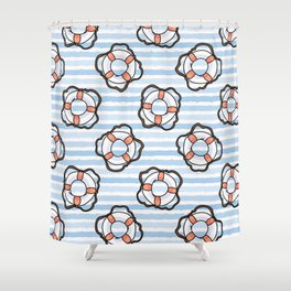 Cute white and red lifering in the ocean cartoon seamless pattern. Shower Curtain