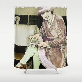 Vintage Woman With Hip Flask Shower Curtain