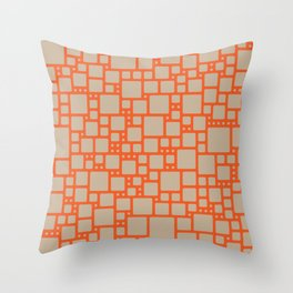 abstract cells pattern in orange and beige Throw Pillow