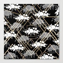 Geometrical faux gold black white floral pattern Canvas Print