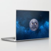 emoji Laptop & iPad Skins featuring Moon Emoji In Space by HarasiElite