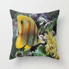 Yellow Longnose Butterfly Fish Throw Pillow