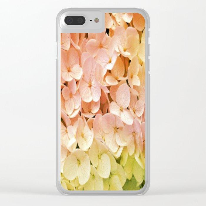 Delicate Pastel Multicolor Hydrangea Clear iPhone Case