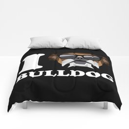 I Love Bulldog modern v2 Comforters