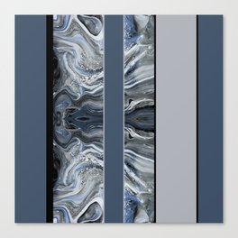 Marbled Smoky Blue Stripes Canvas Print