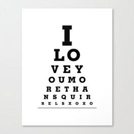 Funny Wall Decor - I Love You More Than Squirrels - Eye Exam Chart Print Canvas Print