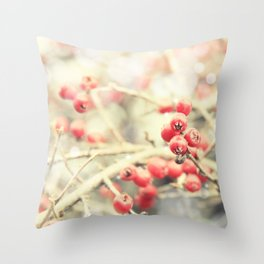 Beautiful Red Berries in the Sunshine Throw Pillow