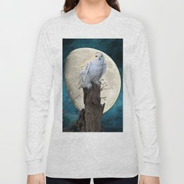 White Snowy Owl Bird Moon Blue A141 Long Sleeve T-shirt