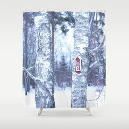 Red Bird House in Winter White Scene #decor #society6 #buyart Shower Curtain