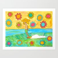 hang 10 groovy surf dude flower power Art Print