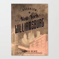 brooklyn Canvas Prints featuring BROOKLYN by Stylegrafico