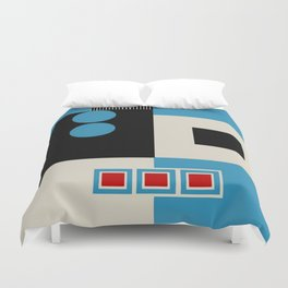 Abstract in Blue, Black, Red and Beige. See Companion Piece Duvet Cover