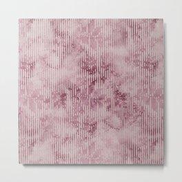 Burgundy white watercolor geometric vintage floral Metal Print
