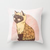 nan lawson Throw Pillows featuring Hip Cat by Nan Lawson