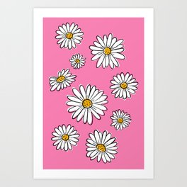 Pop Daisies on Pink Art Print