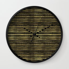 Gold and black stripes minimal modern painted abstract painting minimalist decor nursery Wall Clock