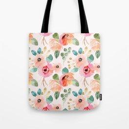 peachy watercolor floral Tote Bag