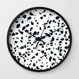 Black and white Terrazzo Asteroids Wall Clock