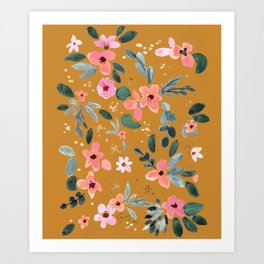 Fawn Floral Copper Orange Art Print