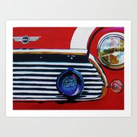 mini cooper Art Prints featuring mini cooper by shirley davies