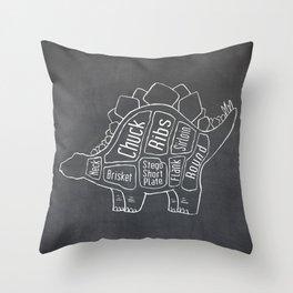 Stegosaurus Dinosaur (A.K.A Armored Lizard) Butcher Meat Diagram Throw Pillow