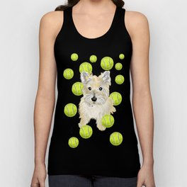 Miss Caroline the Cairn Terrier is Obsessed About Fetching Tennis Balls Unisex Tank Top