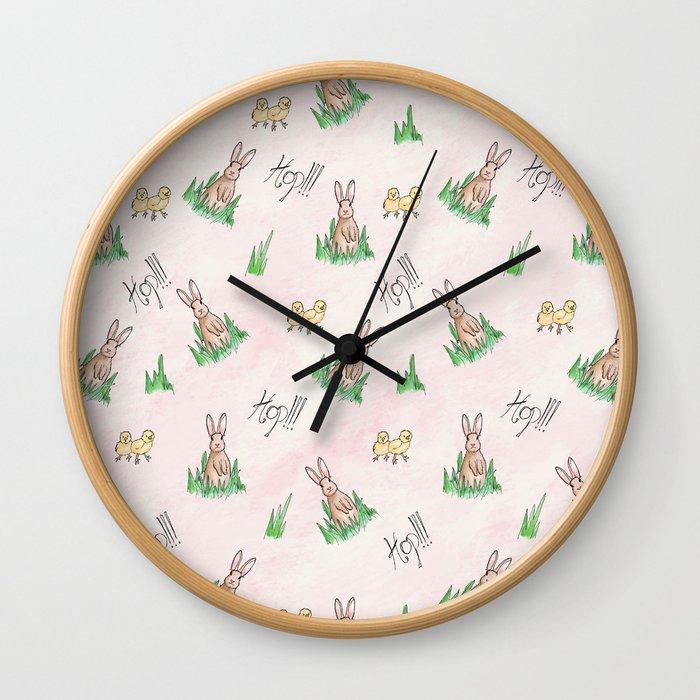 sweet little bunny rabbit pattern print wall clock by