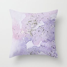 Pastel Glitter Watercolor Painting Throw Pillow