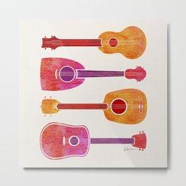 Ukulele Band Art Print - Pink and Orange Metal Print