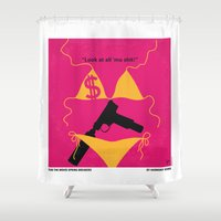 selena Shower Curtains featuring No218 My SPRING BREAKERS minimal movie poster by Chungkong