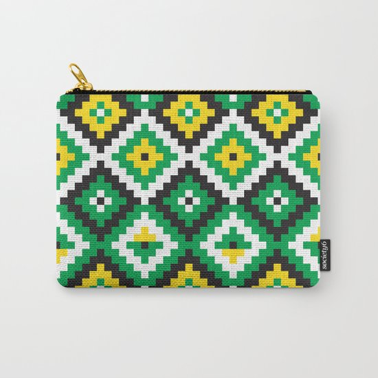 Aztec pattern - green, yellow, black, white Carry-All Pouch