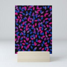Bisexual Pride Scattered Leaves Pattern Mini Art Print