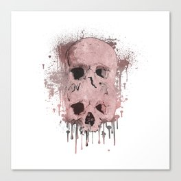 Pink & Grey Skull Drip Canvas Print