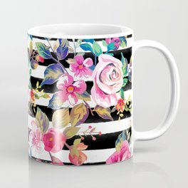 Cute spring floral and stripes watercolor pattern Coffee Mug