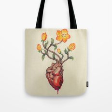 THIS BLEEDING BLOSSOMING HEART: ORANGE WILD ROSE Tote Bag