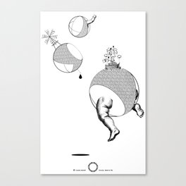 Postmodern Surreal Graphic Tee, Cosmos Planets tees, Baby Art tshirt, Vintage Wind Mill Illustration Canvas Print