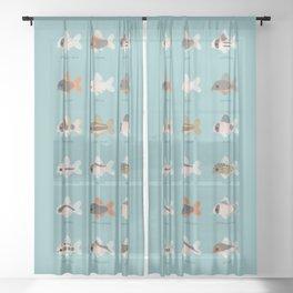 Corydoras! - black Sheer Curtain
