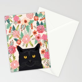 Black Cat cat breed floral pattern background pet gifts cats kitten mom gifts Stationery Cards