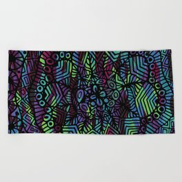 Purple and Green Doodle 14 Beach Towel