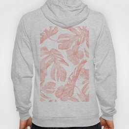 Tropical Palm Leaves Hibiscus Flowers Coral Pink Hoody